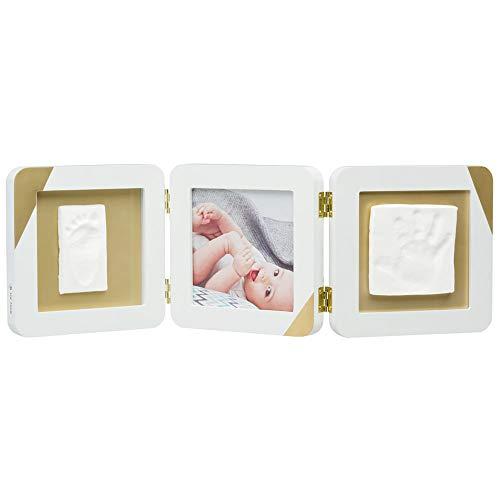 Baby Art My Baby Touch Cadre photo de table avec 2 kits empreintes de bébé et enfant, cadre photo en bois avec détails dorés