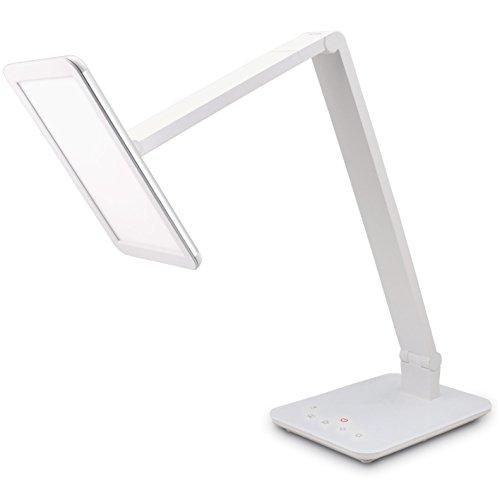 FeinTech LTL00100LED lampada da scrivania con Smart-Touch 550 lumen colore della luce tocco regolabile e dimmerabile, caricatore USB, bianco, Classe di efficienza energetica A
