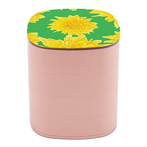 Rotar la caja de joyería con flor grande crisantemo cajas de joyería con espejo, cajas de joyería a granel, soporte de joyería de diseño multicapa para mujeres, niñas y niños