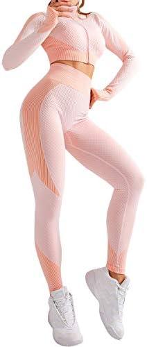 JOYMODE Women 2 Piece Workout Set Outfits High Waist Tummy Control Leggings Long Sleeve Zipup product image