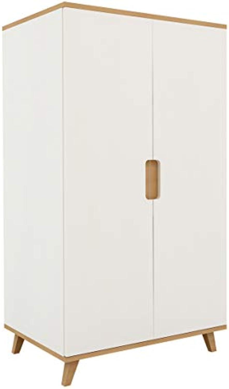XXL Farbeland Kleiderschrank Kinderzimmer mit eine innere Kleiderstange und Einem Einlegebden aus MDF und Buche 77 x 136 x 55 cm, Bekleiderschrank für Kinderzimmer (Mdchen und Junge) (Wei)