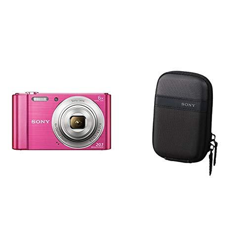 Sony DSC-W810 Fotocamera Digitale Compatta con Sensore Super HAD CCD da 20.1 MP, Zoom Ottico 6x, Video HD, Rosa & LCSTWP/B Custodia da Trasporto per Cyber-Shot Serie W E T, Nero