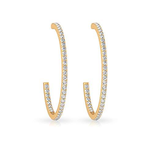 0,65 Karat IGI zertifizierter Diamant Kanal Ohrring, klassische moderne Partywear Damen Ohrring, IJ-SI Farbe Klarheit Diamant Große Creolen, Gold Offene Creolen, 14K Gelbes Gold, Paar