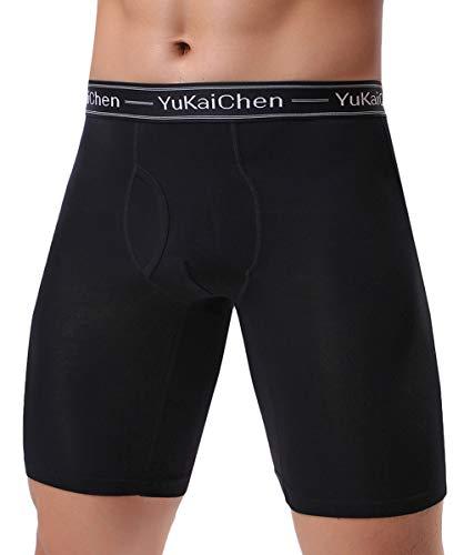YuKaiChen Herren Boxershorts Atmungsaktive Langes Beine Unterhosen Bambusfaser Männer Unterwäsche Pack 1er & 4er, 1-pack Schwarz, 3XL