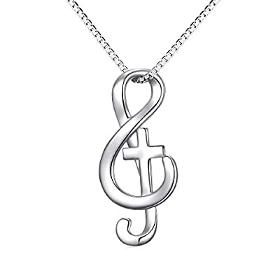 Amazon - Save 40%: Musical Note Necklace Pendant 925 Sterling Silver Treble Clef Music Jewelry…