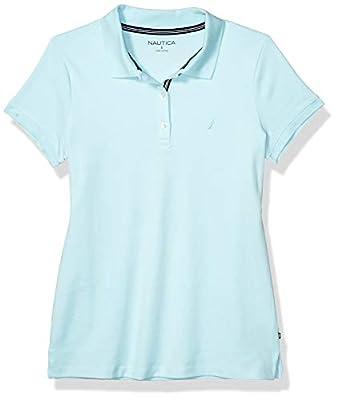 Nautica Women's 3-Button Short Sleeve Breathable 100% Cotton Polo Shirt, Sea Water Blue, Large