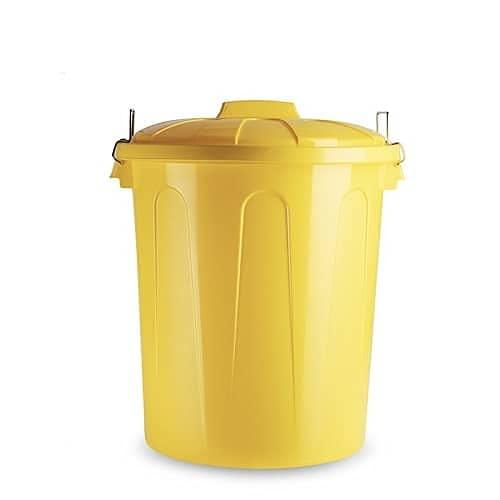 CABLEPELADO Cubo basura plastico comunidad con tapa 51 Litros (Amarillo)