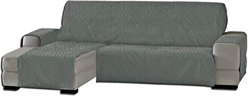 Marta Marzotto Funda para sofá Evolution, chaise longue universal, chaise longue izquierda/derecha, chaise longue, color liso, color gris ahumado, termosoldado, 300 cm