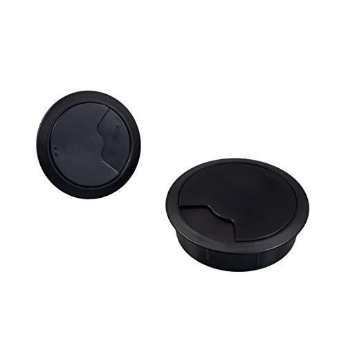 Gedotec Kabeldurchführung Büro-Tisch Kabelausgang Kunststoff TABLE rund | Kabeldurchlass schwarz | Kabelführung zum Eindrücken | Kabeldose Bohr-Ø 60 mm | 2 Stück - Durchführungen für Schreibtische