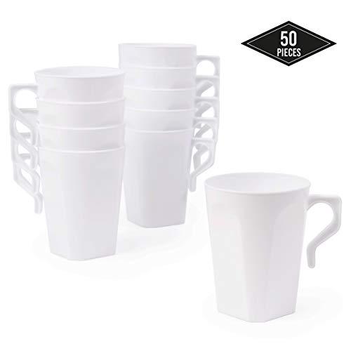 50 Pack Wegwerp Koffiekopjes, Hard Plastic Mok Set, 8,5 oz (255ml) - Stevig, Duurzaam & Herbruikbaar - Stapelbaar - Perfect voor Koffie, Thee, Hete Chocolade, Hete Dranken.