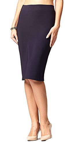 Premium Stretch Pencil Skirt for Women with Slit - Pull On Elastic Waistband - Bodycon Midi Skirts - Classic Navy Blue - Small
