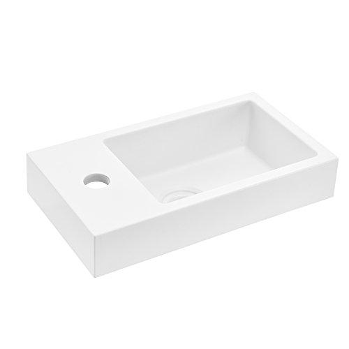 [neu.haus] Waschbecken Aufsatzwaschbecken Handwaschbecken für Gäste WC - weiß - 40x22x7cm aus Mineralguss