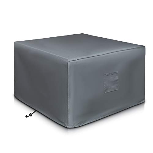 LIVIVO Deep Deluxe Fire Pit Cover with Covered Air Vents, and Elastic Hem for Secure Fit (Square)