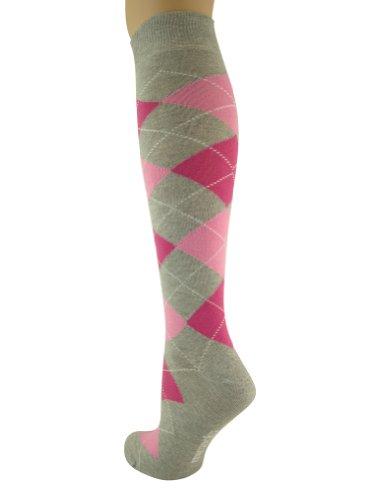 Mysocks® Knie hoch Argyle Socken Esche Fuchsia Pink