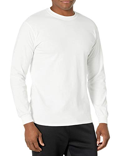 Gildan Men's Ultra Cotton Long Sleeve T-Shirt, Style G2400, White, X-Large