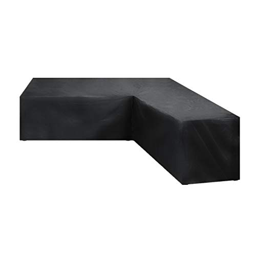 wide smile L Shaped Garden Sofa Covers Waterproof Outdoor Furniture Set Protector Patio Dustproof Cover Black 270X270X90CM