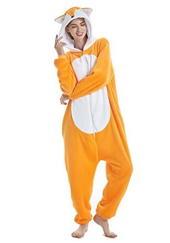 BESUURAN Relaxo Kostüm Löwe Onesie Jumpsuit Tier Relax Kostuem Fuchs Pyjama Hase Weihnachten Halloween Schlafanzug Cosplay Erwachsene Karneval Hirsch Fox M