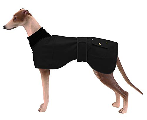 Ctomche cotton dog vest,Dog Winter Coat Reflective Waterproof,Windproof Fleece Lined Dog Coat,Coat Warm Dog Apparel Cold Weather for Greyhounds,Lurchers and Whippets Black-S