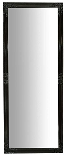 Specchio, Specchiera lunga rettangolare da parete, da appendere al muro, orizzontale e verticale, Shabby chic, bagno, camera da letto, cornice finitura colore nero lucido, grande, lunga, L72xPR3xH180 cm. Stile shabby chic.