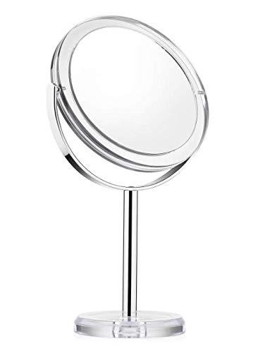 Auxmir Kosmetikspiegel Makeup Spiegel Tischspiegel mit 1-/ 10 Facher Vergrößerung, Doppelseitig & 360° Schwenkbar für Schminken Rasieren Gesichtspflege im Wohnzimmer Kosmetikstudio Schmuckkaufhaus