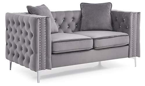 Glory Furniture Paige Loveseat, Gray. Living Room Furniture 30' H x 63' W x 34' D