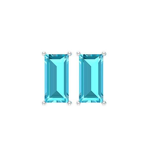 Pendientes de tuerca tipo baguette con topacio suizo de 2,88 quilates, con piedra natal azul, certificado SGL, hecho a mano, oro sólido de 14 quilates, regalo, tornillo hacia atrás