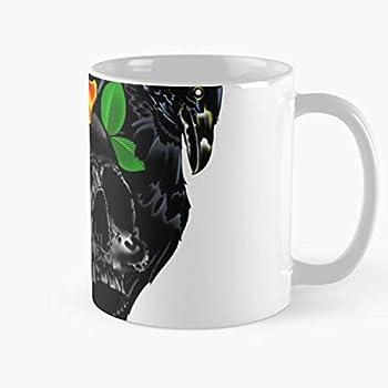 Crow Traditional Feathers Bird Skull Tattoo Art Raven American The best 11oz marble ceramic coffee mug