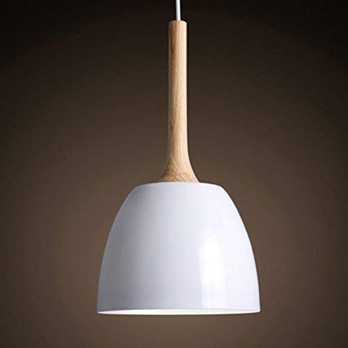 FDA3H moderne minimalistische ontwerp hanglamp ronde hangende verlichting E27 1-licht hanglamp voor eetkamer keuken woonkamer ijzer hout zeer verstelbare plafondverlichting lamp wit Ø22cm*H1