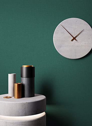 NEWROOM Tapete Grün Vliestapete Struktur - Unitapete Uni Textil Einfarbig Modern inkl. Tapezier-Ratgeber