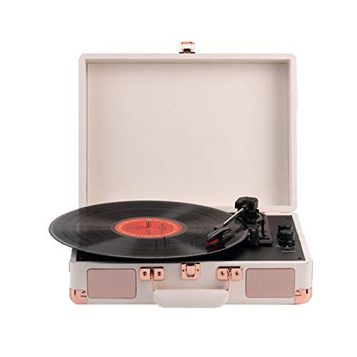 YUUY Turntable Record Player Speed Bluetooth Maleta portátil Cuero Gramófono Antiguo Reproductor de grabación Retro con Altavoces incorporados (Color : C, Size : 36cm*34cm)