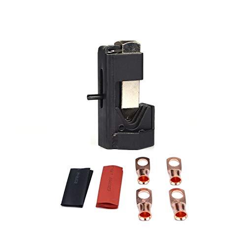 GUOLIANG Abrazaderas de Manguera de Metal automotriz Cable de la batería del automóvil Hammer Hammer Lug Crimper Herramientas alicates con T2 Cobre 4 x 3/8 Terminales de Alambre prensado en frío