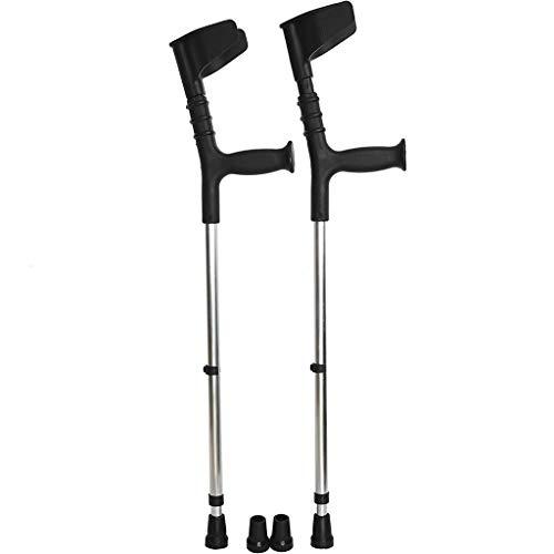 JHDPH3 Par de 2 muletas doble ajustable del codo del brazo Tipo plegable muletas muletas doble fractura axila muletas muletas Ligero y antideslizante de la manija anatómico muletas con puntas de repue