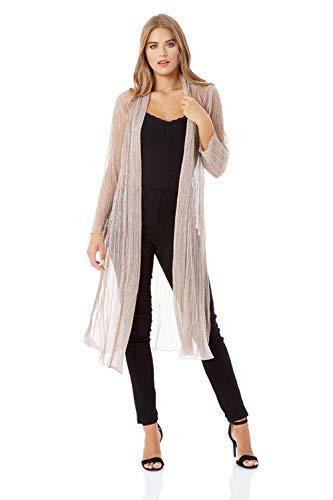 Roman Originals Plisse - Kimono metálico para mujer, brillante, fiesta, ocasión especial, manga larga, ligera, con cubierta brillante
