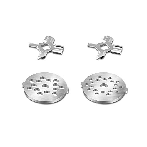 Antree Stainless Steel Meat Grinder Plate Discs/Grinding Blades for Stand Mixer and Meat Grinder Attachment, 2 sharp blades and 2 cutting plates (coarse and fine)