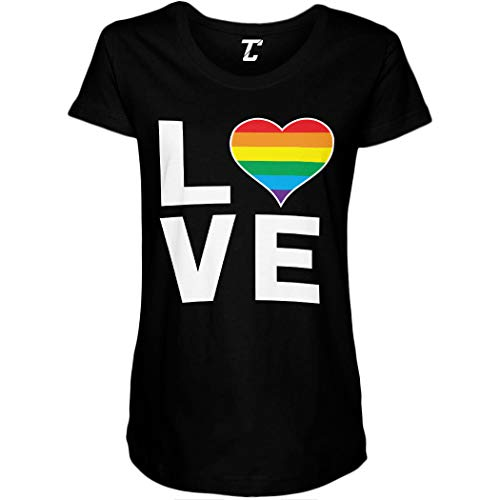 Love Rainbow Heart - Gay Pride LGBTQ Side Ruched Maternity T-Shirt (Black, Large)