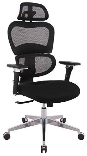 devil ray - Ergonomischer Bürostuhl Schreibtischstuhl Chefsessel Drehstuhl Office Chair mit Lordosenstütze Kopfstütze Armlehne Rückenschonend schwarz