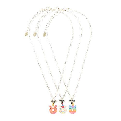 Claire's Matching Unicorn Donut Pendant Best Friends Necklaces, Silver...