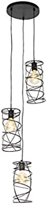 QAZQA Lampada a sospensione spira - Design - Acciaio - Nero - Tondo Max. 3 x 40 Watt