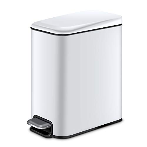 YCTEC Slim Bathroom Trash Can with Lid Soft Close and Removable Inner Wastebasket, Rectangular Small Trash Can for Bedroom Office Narrow Spaces, Anti-Fingerprint Matt Finish, 5L/1.3Gal, White
