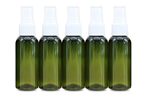HINNASWA Spray Bottles with Clear Plastic Reusable and Refillable Mist Sprayer 5 packs 2 oz Green