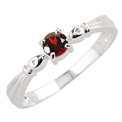 [リュイール] ガーネット 1月 誕生石 レディース リング 一粒 指輪 シンプル K10 ホワイトゴールド 6号
