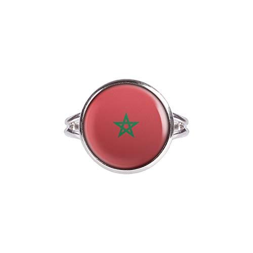 Anillo con Motivo Bandera de Marruecos Marruecos Rabat Plata 14mm