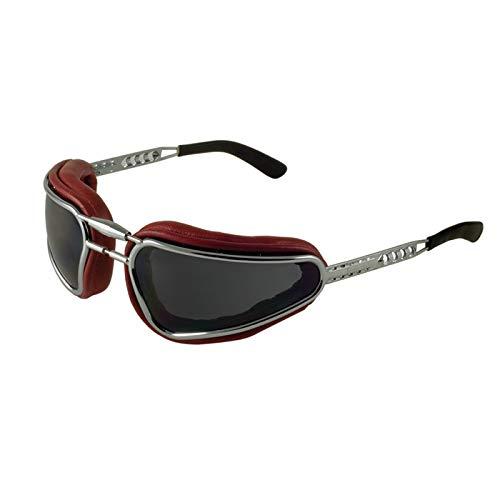 Kit de gafas para moto Easy Rider Baruffaldi con doble lente ahumada con almohadillas de piel masajeable, lentes intercambiables, puente ajustable, fabricado en Italia (rojo imperial)