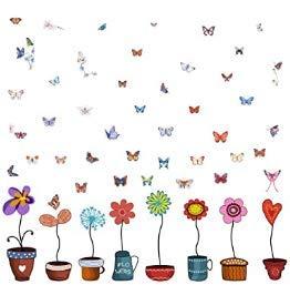 Wandtattoo Bordüre DIY Bunte Blumen Schmetterlinge Wandbild Bunte Blumentopf Schmetterlinge Fensterdeko Bilder für Kinderzimmer Wohnzimmer Schlafzimmer Baseboard Flur Garderobe