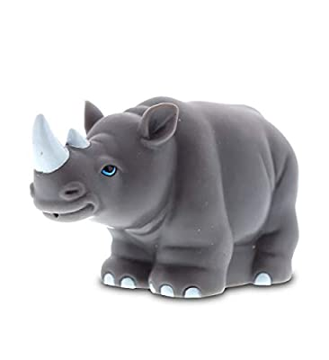 DolliBu Rhinoceros Rubber Bath Toy Squirter Gray Bath Buddy Fun Floater Animal Collection 3.5 Inch Affordable Gift for Babies Safe for All NO Age Restrictions Bath Time/Pool Toy Water Party