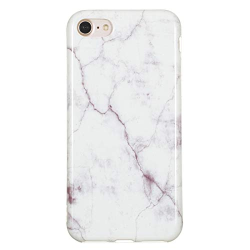 Yiki Gute TPU-Schutzhülle for iPhone 8 und 7 (Blue Star) (Color : White Marble)