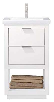 """LUCA Kitchen & Bath LC20GWP Sydney 20"""" Bathroom Vanity Set in White with Integrated Porcelain Top"""