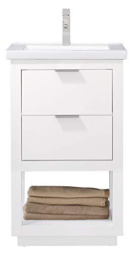 LUCA Kitchen & Bath LC20GWP Sydney 20' Bathroom Vanity Set in White with Integrated Porcelain Top