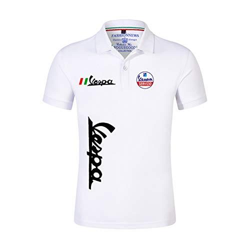2020 Vespa Verano Polo Polo Casual Mangas cortas Color Sólido Tshirt Man Hombre Tops Classic Tops al aire libre Personalizar Camiseta (Color : 1, Size : L)