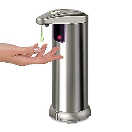 AHUIFT Dispensador Automático de Jabón con Acero Inoxidable, Sensor de Movimiento por Infrarrojos, Base Impermeable, Interruptor Ajustable, Baño Apropiado, Cocinas, Hotel, Restaurante